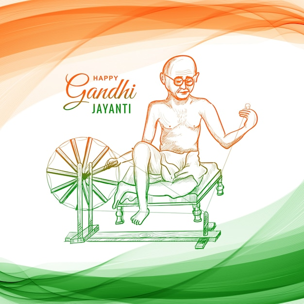 Mahatma gandhi for gandhi jayanti on wave