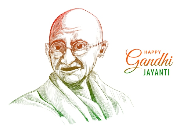 Mahatma gandhi for gandhi jayanti on white