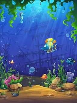 コンピュータゲームへの麻雀魚の世界イラスト背景画面