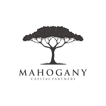 Дизайн логотипа из красного дерева