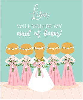 Maid of honor proposal card for wedding invitation card template design
