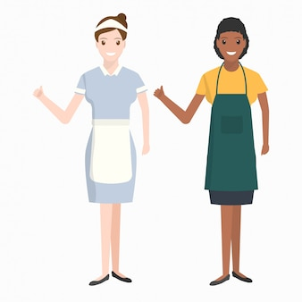 Maid, housekeeper cleaning illustration