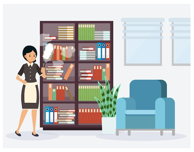 メイドは本棚のほこりを掃除しています。棚を掃除する女性、クリーニングの概念、フラットな漫画のキャラクター。