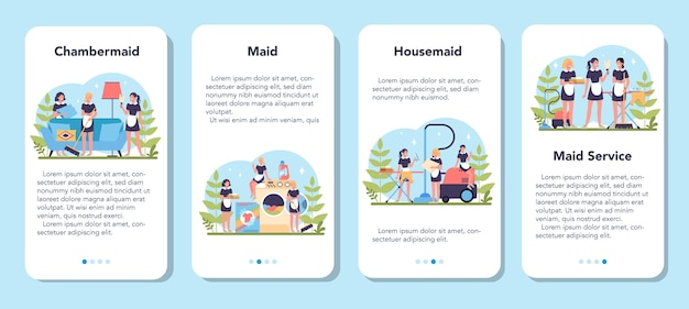 Maid service, cleaning service, apartment cleaning mobile application banner set woman in a classic uniform cleaning house or hotel. isolated vector illustration