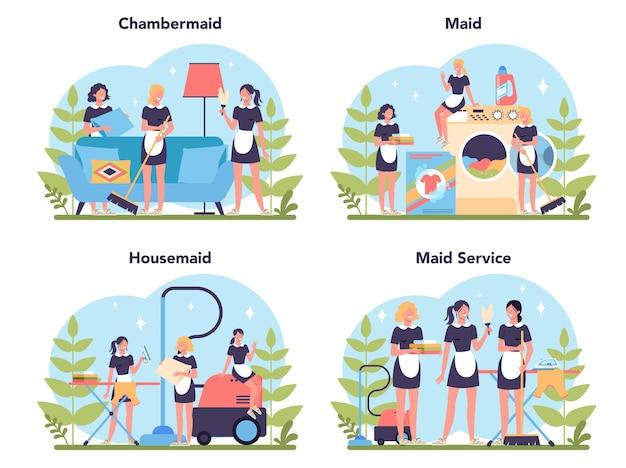 Услуги горничной, уборка, набор для уборки квартир. женщина в классической униформе, убирающая дом или отель.