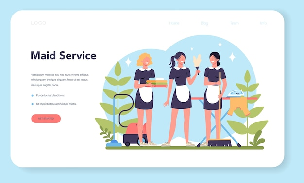 Maid service, cleaning service, apartment cleaning web banner or landing page