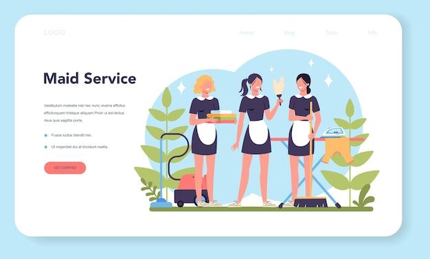 Услуги горничной, услуги по уборке, уборка квартиры веб-баннер или целевая страница