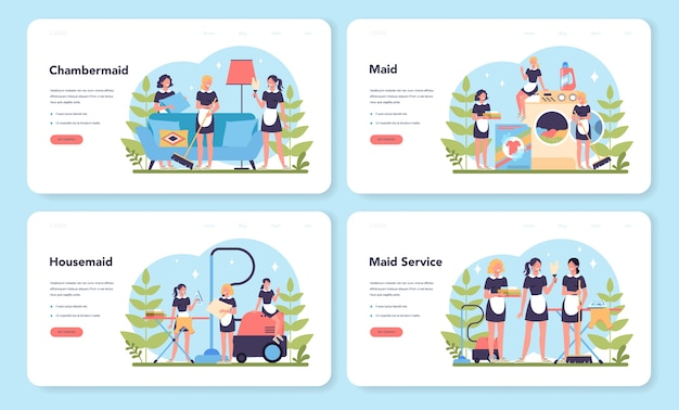 Maid service, cleaning service, apartment cleaning web landing page set. woman in a classic uniform cleaning house or hotel. isolated vector illustration