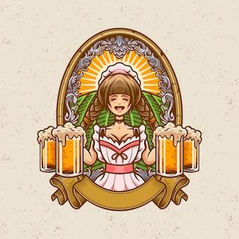 Горничная с пивом иллюстрации