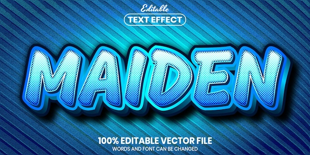 Maiden text, font style editable text effect