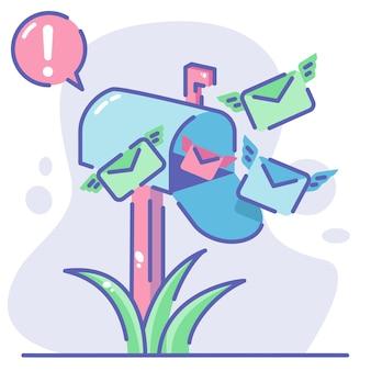 내부에 메일 봉투 편지를 허용하는 메일 상자