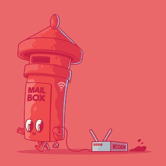 Mail box character illustration. technology, internet, wifi design concept