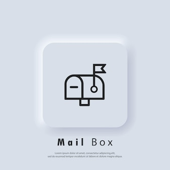 Mail box icon. newsletter logo. envelope. email and messaging icons. email marketing campaign. vector eps 10. ui icon. neumorphic ui ux white user interface web button. neumorphism