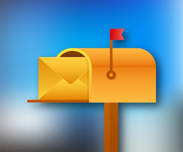 Mail box  illustration in the flat style.  stock illustration.