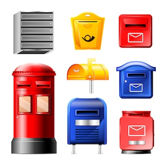 Mail box post mailbox or postal mailing letterbox illustration set of postboxes for delivery mailed letters in envelope isolated on white background