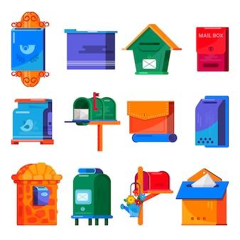 メールボックスベクトルポストメールボックスまたは郵便ポストの郵便郵送レターボックスセット
