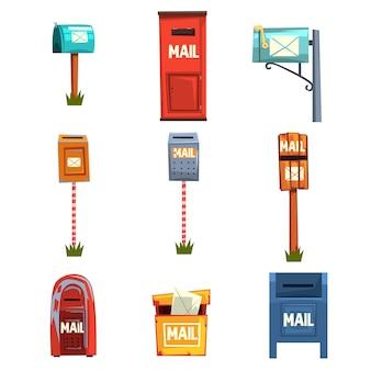 メールボックスセット、白い背景の上のビンテージ郵便ポスト漫画イラスト