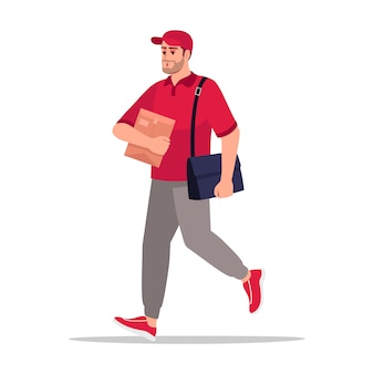 Mail carrier semi flat rgb color   illustration