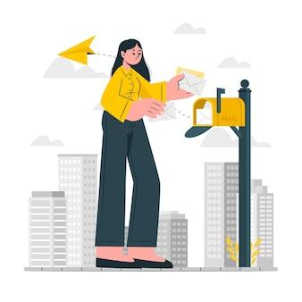 Illustrazione del concetto di posta