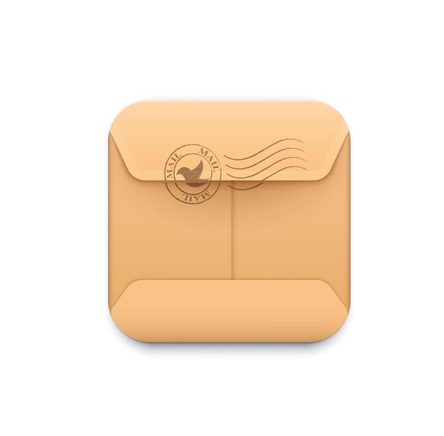 메일 배달 아이콘입니다. 메시징 및 sms 스마트폰 응용 프로그램, 배달 서비스 또는 전자 메일 앱, 종이 봉투가 있는 3d 벡터 정사각형 그림, 소포 패킷 또는 패키지의 우편 스탬프