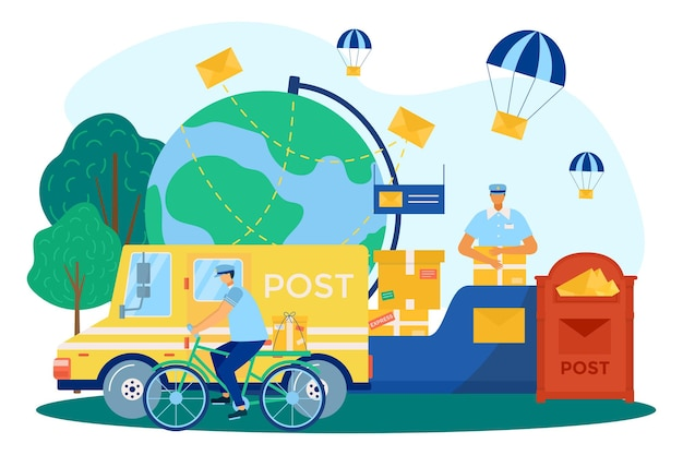 Доставка почты, почтовая служба, векторные иллюстрации. люди курьерского характера раздают посылки, плоские письма возле почтового ящика, почтовый грузовик. конверт для корреспонденции, посылка для планеты глобус.