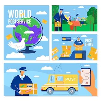 Набор баннеров службы доставки почты, человек почтового курьера перед грузовым фургоном, доставляющим пакет, иллюстрация. почтовый ящик, упаковка и транспортировка по миру почтальонами.