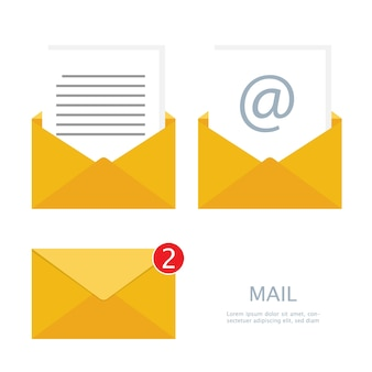 Mail e-mail set vector