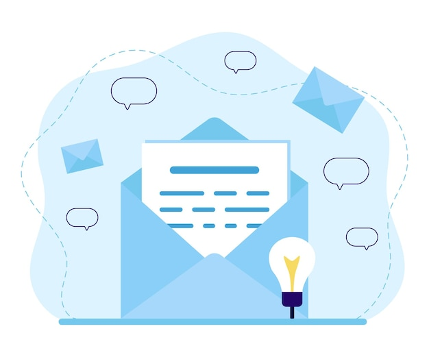 Mail, email service, news, document or letter in envelope with message and correspondence delivery. incoming or outgoing letter. email, notification, message, sms, spam concept.  flat