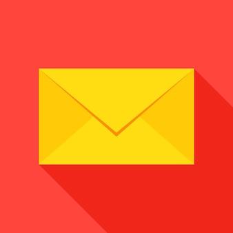 메일 봉투 아이콘입니다. 벡터 일러스트 레이 션 긴 그림자와 평면 스타일 항목입니다.
