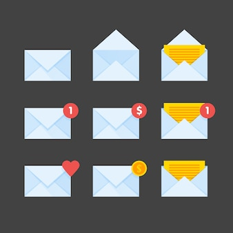 Mail envelope icons set