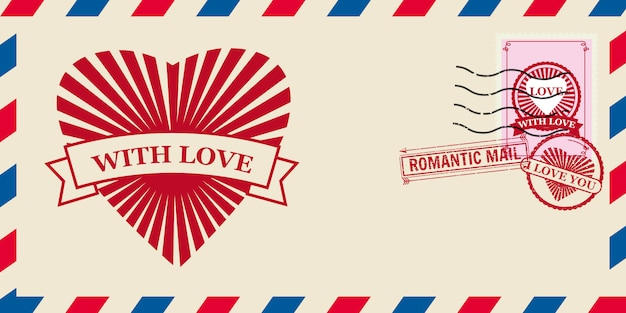Mail envelope for valentine day with hearts love, postcard