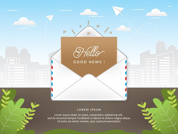 Mail envelope with good news text