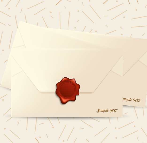 Mail envelope with red wax seal