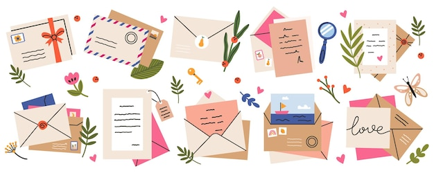 Mail envelopes. post cards, envelopes, post stamps, craft paper letters and mail envelopes Premium Vector