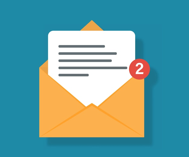 Mail icon with notification. two new messages icon with notification. incoming email. receiving messages.
