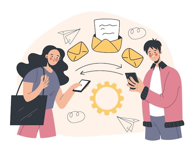 전화에서 전화 추상 그림 디자인 요소 개념으로 메일 편지 정보 전송