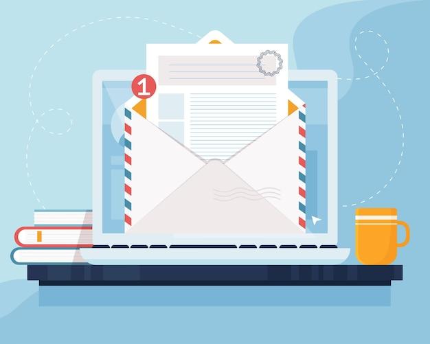 메일 마케팅 개념. 화면에 봉투와 문서가있는 노트북. 이메일, 이메일 마케팅, 인터넷 광고 개념. 플랫 스타일의 일러스트레이션