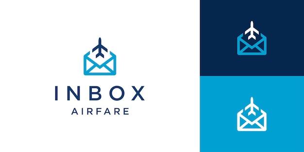 アウトラインスタイルの概念を持つメールメッセージ飛行機アイコンのロゴデザイン