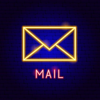 Mail neon label. vector illustration of business promotion.
