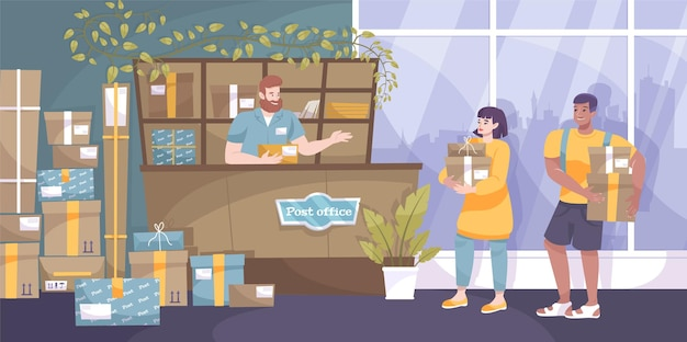 Mail parcel flat composition with indoor view of post office with senders and employee at counter illustration