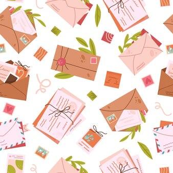 메일 포스트 편지 빈티지 봉투 원활한 패턴 여행에서 귀여운 오래 된 엽서