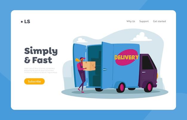 우편, 우표 패키지 운송 서비스 방문 페이지 템플릿. 고객에게 배달하기 위해 트럭에 택배 여성 캐릭터 로딩 소포 상자
