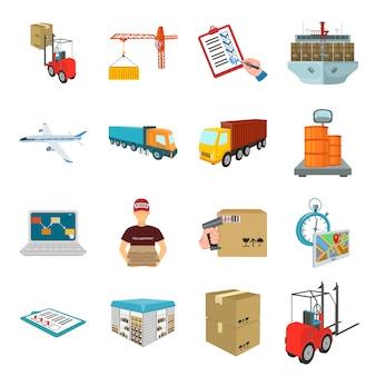 Почта почтовый мультфильм установить значок. почтовый сервис. изолированный шарж установил почтовую почту значка.