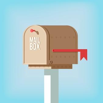 赤い旗が付いている棒の郵便ポスト