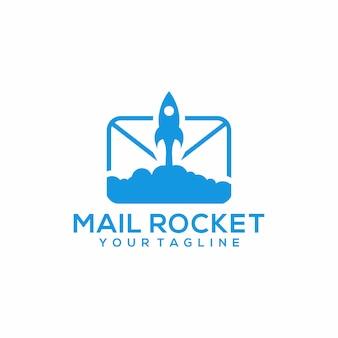 Mail rocket логотип шаблон вектор