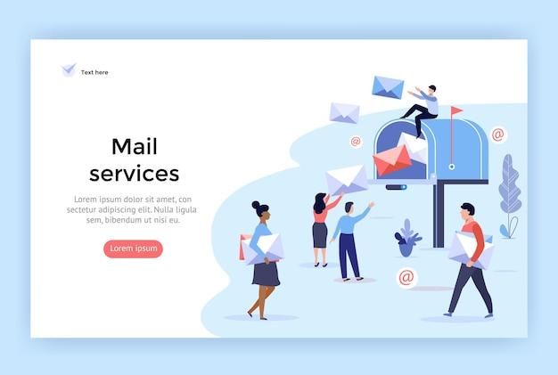 웹 디자인에 완벽한 메일 서비스 및 통신 배달 개념 그림