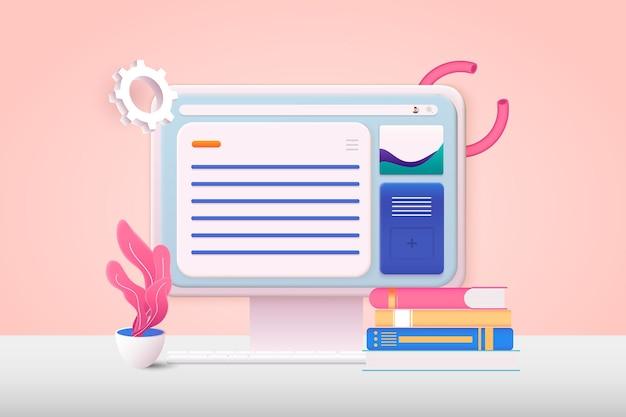 ページを開いているメールサービスコンピュータ