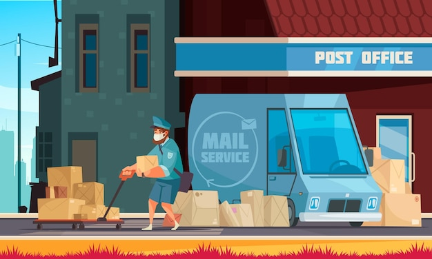 カートのイラストを引っ張る郵便局の入り口の郵便配達員の前の郵便配達車両