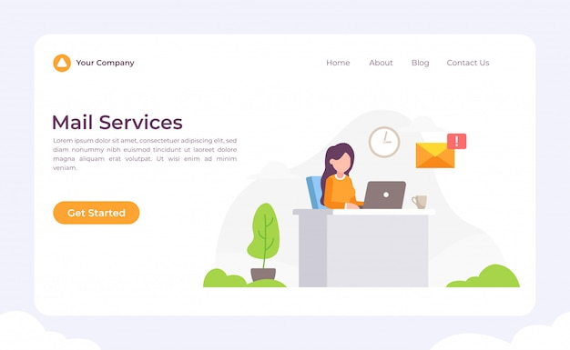 Mail services landing page