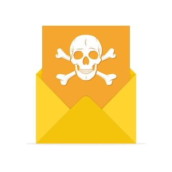 Mail spam icon in flat design illustration